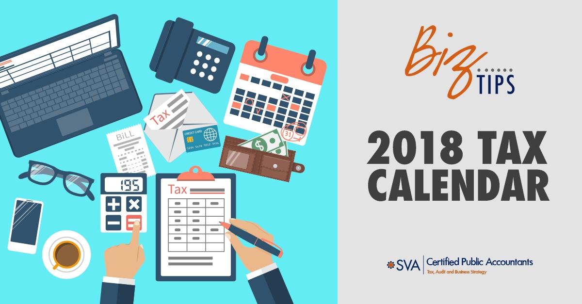 2018 Tax Planning Calendar