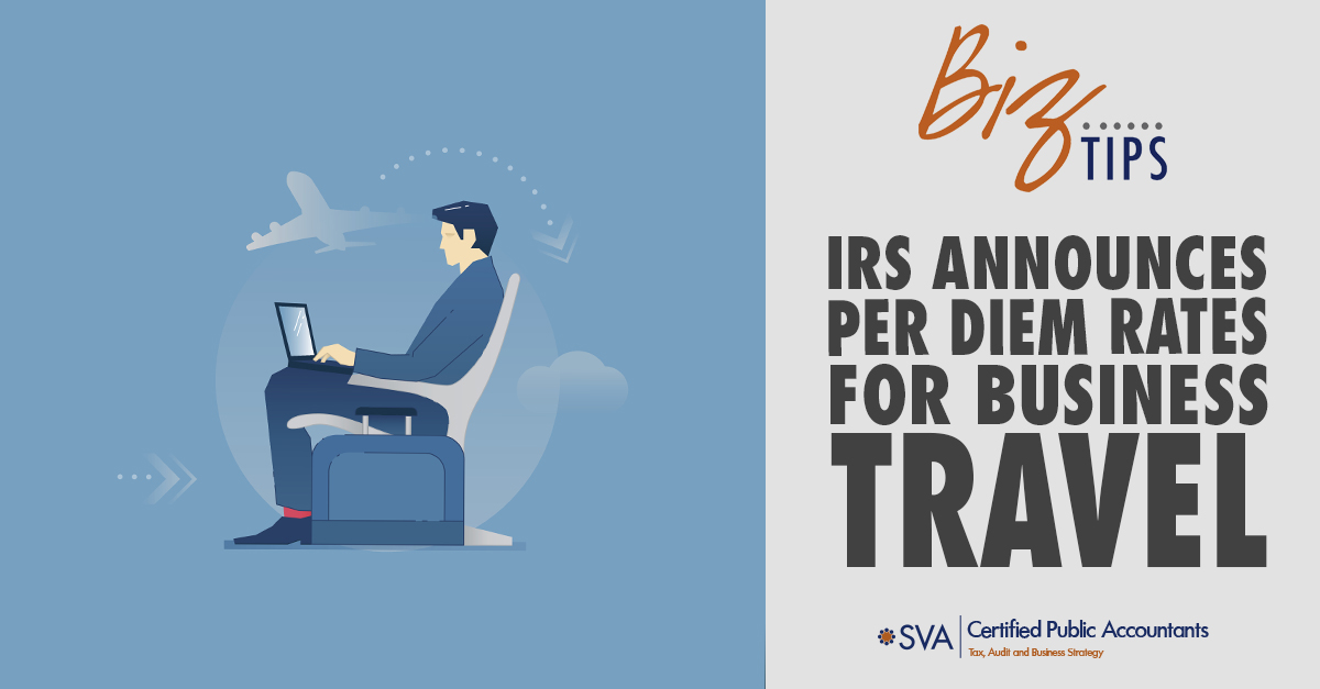 IRS Announces per Diem Rates for Business Travel