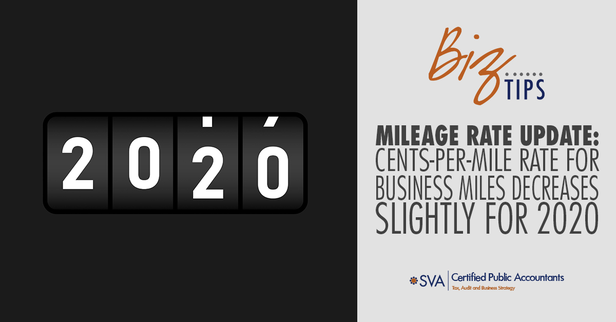 Mileage Rate Update: Cents-Per-Mile Rate for Business Miles Decreases Slightly for 2020